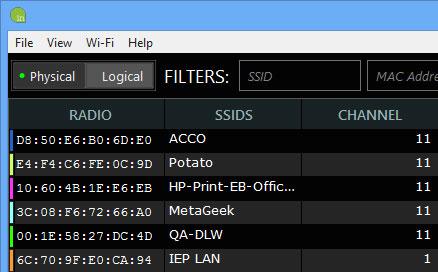 Trình quét WiFi liệt kê ra tất cả các mạng gần đó