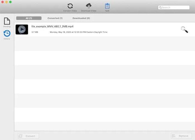 File sau khi được chuyển đổi sẽ xuất hiện trên tab History