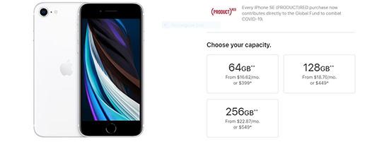 Ba phiên bản bộ nhớ của iPhone SE