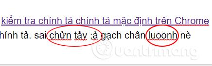 Chrome đánh dấu từ viết sai