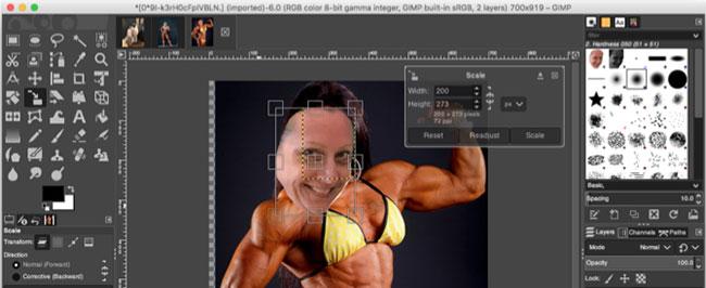 Nếu cần thay đổi kích thước khuôn mặt, bạn có thể sử dụng Scale Tool