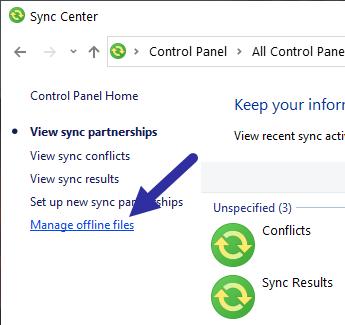 Nhấp vào liên kết Manage offline files ở bên trái