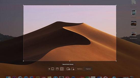 Chụp màn hình với tổ hợp phim Command + Shift + 5
