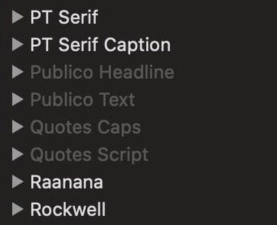 Duyệt danh sách phông chữ