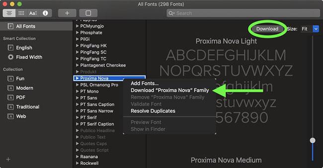 Nhấp vào nút Download trong cửa sổ xem trước phông chữ