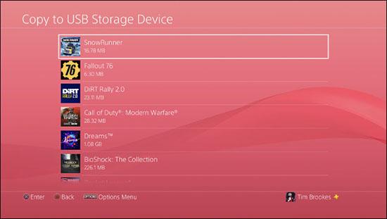 Chọn game để copy vào USB