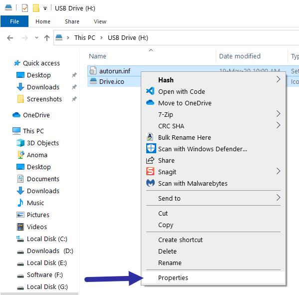 Chọn cả hai file Drive.ico và autorun.inf, nhấp chuột phải và chọn Properties