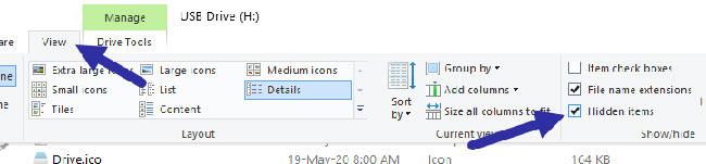 Chuyển đến tab View và chọn hộp kiểm Hidden files