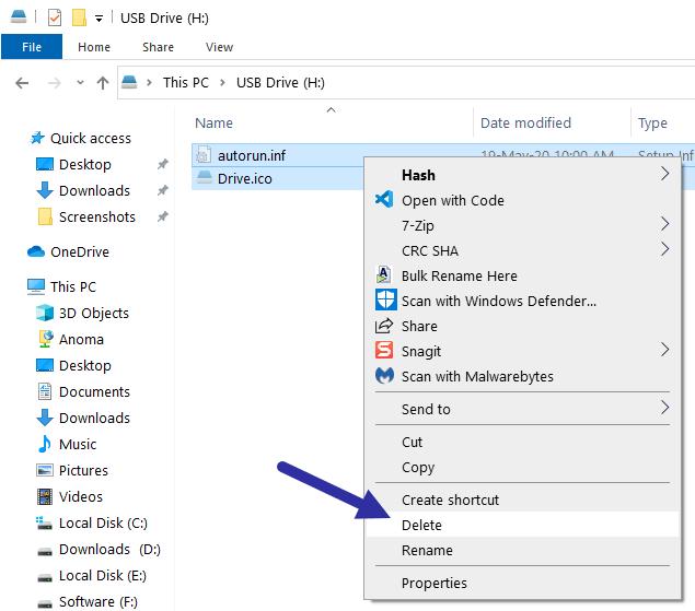 Chọn cả hai file Drive.ico và autorun.inf, nhấp chuột phải vào chúng và chọn tùy chọn Delete