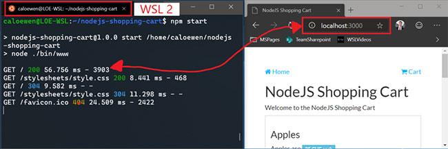 Có thể kết nối với các ứng dụng mạng WSL 2 Linux bằng localhost