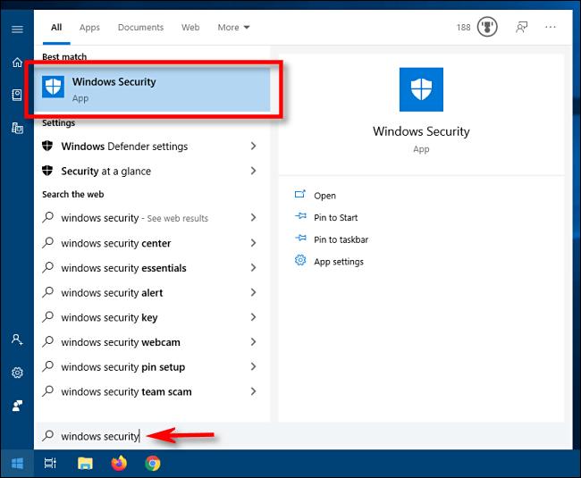 Mở menu Start và nhập Windows Security