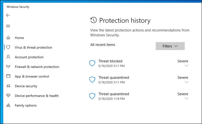 Danh sách các mối đe dọa xuất hiện trên trang Protection History