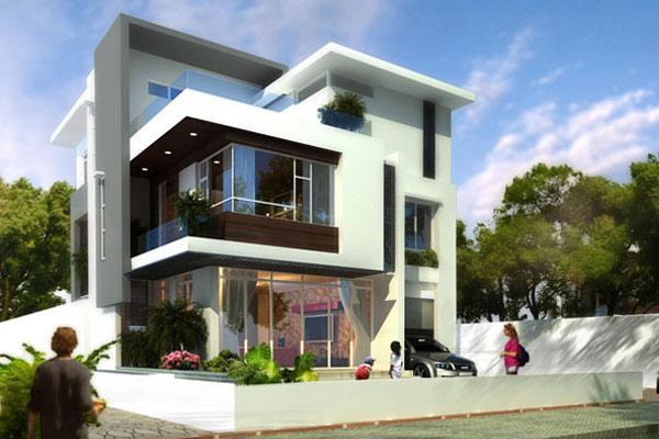 Biệt thự 2 tầng 1 tum được thiết kế hiện đại với không gian nội thất và ngoại thất hòa lẫn với nhau bằng những ô cửa lớn, mảng kính lớn, hiên rộng 1