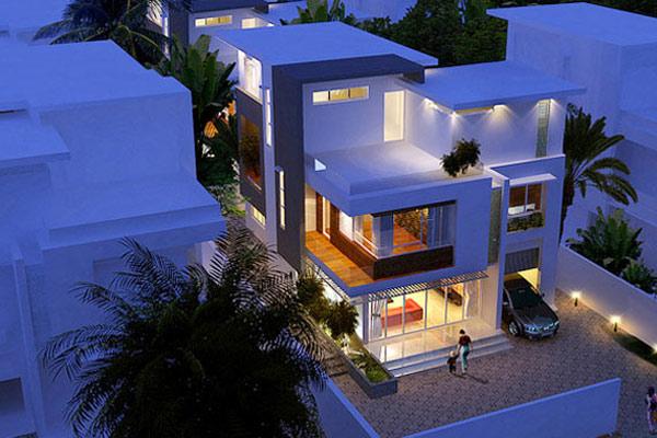 Biệt thự 2 tầng 1 tum được thiết kế hiện đại với không gian nội thất và ngoại thất hòa lẫn với nhau bằng những ô cửa lớn, mảng kính lớn, hiên rộng 2