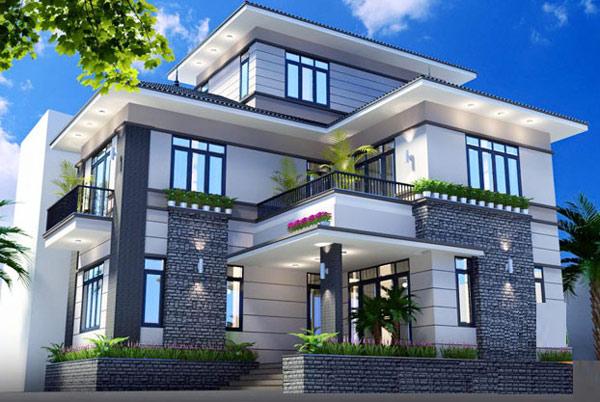 Mẫu biệt thự 2 tầng mái thái 1 tum