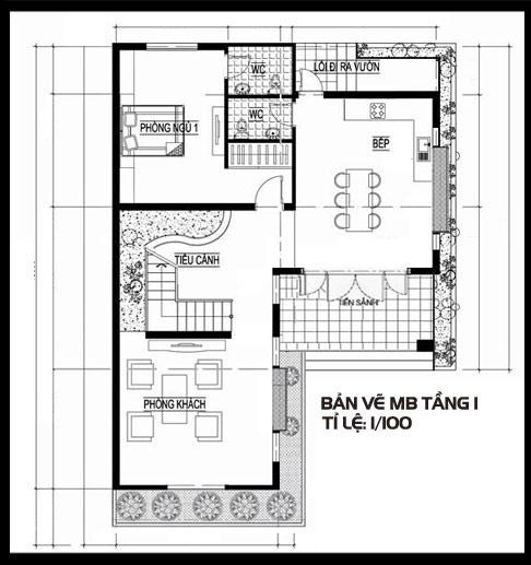 Biệt thự 2 tầng mái thái 1 tum, tầng 1