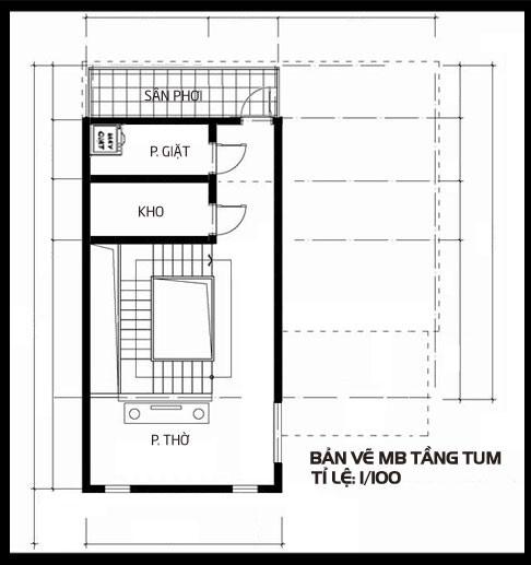 Biệt thự 2 tầng mái thái 1 tum, tầng 3