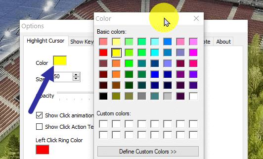 Để thay đổi màu highlight, nhấp vào hộp màu bên cạnh tùy chọn Color