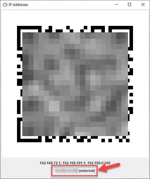 Mã QR và địa chỉ IP thực tế sẽ hiển thị