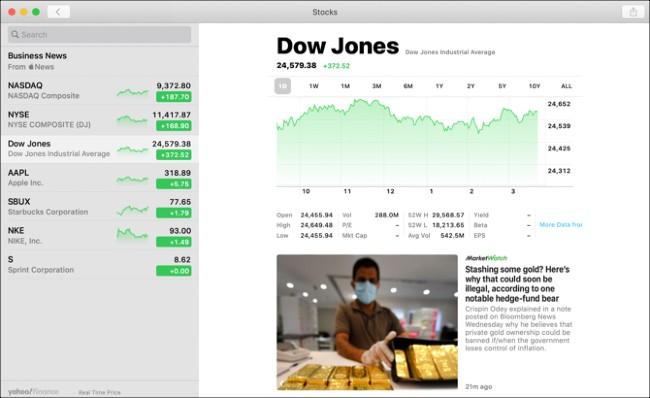 Stocks thường xuyên cập nhật cho bạn thông tin thị trường tài chính