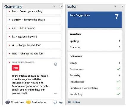 Grammarly thường bắt được nhiều lỗi hơn Microsoft Editor