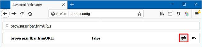 Tìm kiếm browser.urlbar.trimURLs và chuyển đổi trạng thái từ true sang false