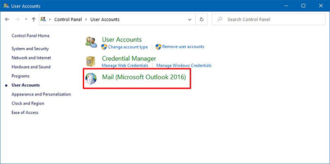 Nhấp vào Mail (Microsoft Outlook)