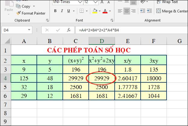 Bài tập Excel tính toán