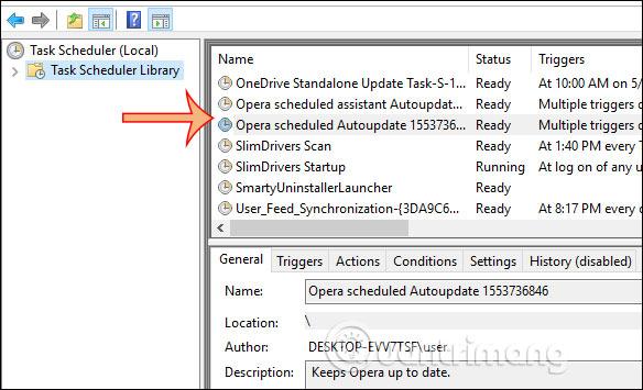 Tìm các tác vụ update Opera