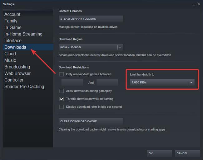 Chọn tốc độ download từ menu drop-down Limit bandwidth to