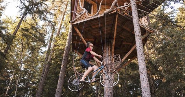Tự chế thang máy bằng xe đạp