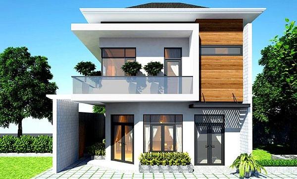 Mẫu nhà hai tầng hình vuông ấn tượng
