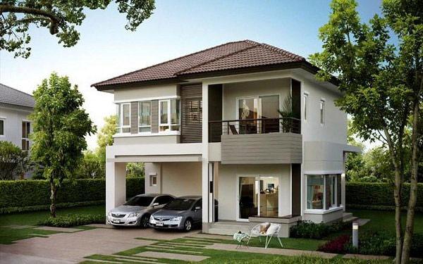 Nhà vuông hai tầng mái thái nổi bật với tông màu hiện đại