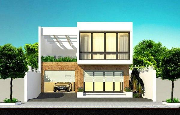 Nhà vuông 2 tầng đơn giản được thiết kế theo phong cách hiện đại với một bên là không gian sinh hoạt, một bên là gara để xe và sân thượng