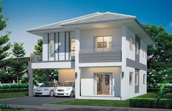 Mẫu nhà vuông 2 tầng theo phong cách hiện đại