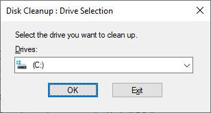 Chọn C drive từ danh sách drop-down