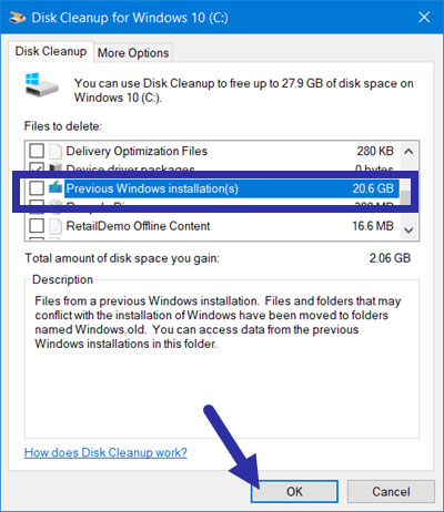 Chọn hộp kiểm Previous Windows Installation(s)