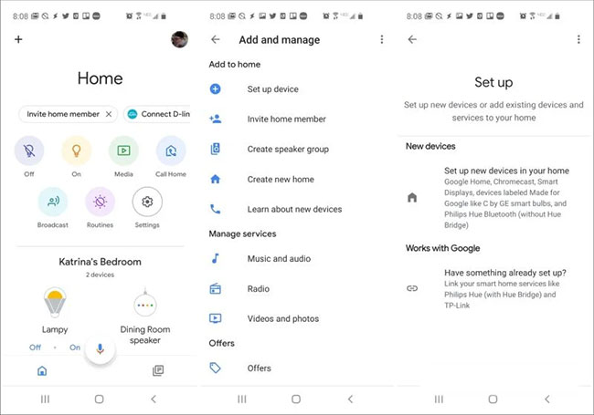 Nhấn vào Set up new devices in your home
