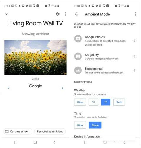 Chọn screensaver cho Chromecast