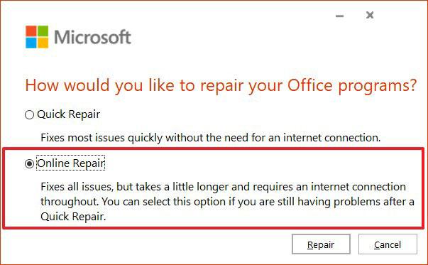 Chọn tùy chọn Online Repair để sửa lỗi 30088-26