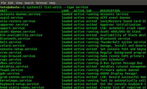 Đầu ra lệnh systemctl list-units –type