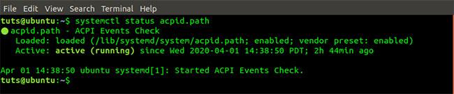 Lệnh systemctl status acpid.path