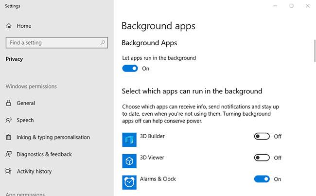 Nhấp vào Background apps để mở Settings
