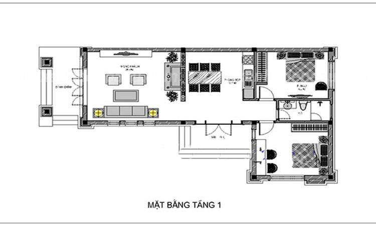 Bản vẽ nhà cấp 4 chữ L mái thái 2 phòng ngủ