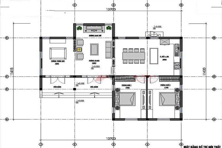 Bản vẽ nhà cấp 4 chữ L mái thái 2 phòng ngủ 1 phòng thờ