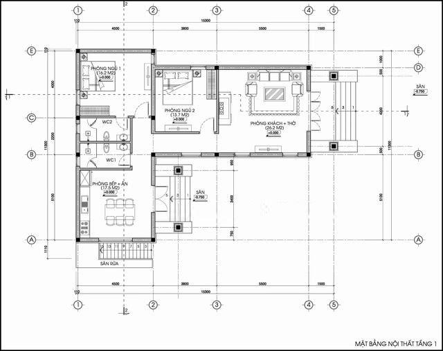 Bản vẽ nhà cấp 4 mái thái chữ L ngang 12m có 2 phòng ngủ