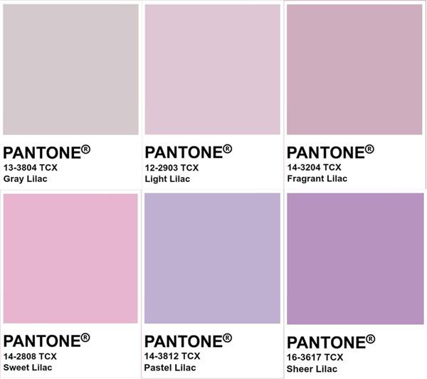 Có khá nhiều sắc thái lilac khác nhau được nhưng đây là những sắc độ phổ biến nhất. (Ảnh: Pantone).