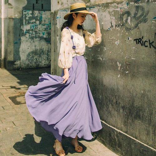Chân váy tím lilac