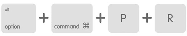 Tổ hợp phím Option + Command + P +R