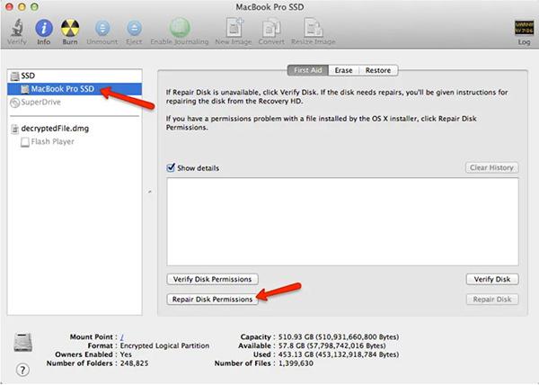 Disk Utility trên macOS phiên bản cũ